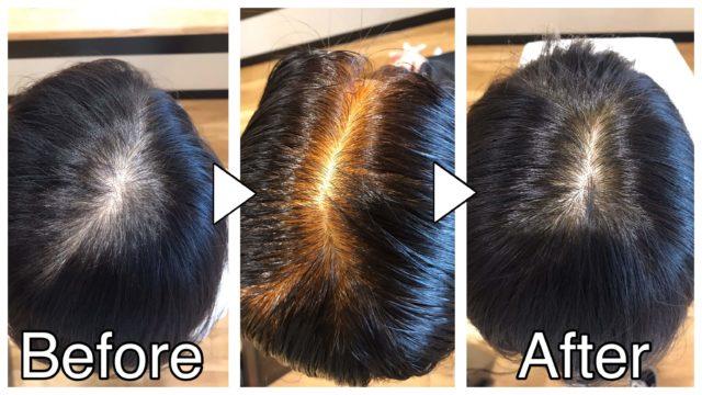 ヘナとインディゴを併用してオレンジ色を目立たせないことを証明する画像